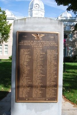 Cleveland County World War II Memorial Marker image. Click for full size.