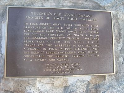 Truckee's Old Stone Garage and Site of Town's First Dwelling Marker image. Click for full size.