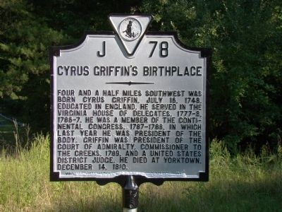Cyrus Griffin's Birthplace Marker image. Click for full size.