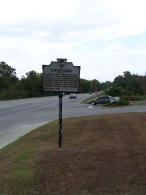 Santee Canal Marker, as seen looking north along US 71 / US 52 image. Click for full size.