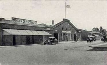View of Minden Dry Goods Store and COD Garage (1920s) image. Click for full size.