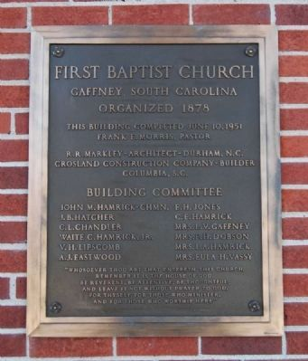 First Baptist Church Dedication Plaque image. Click for full size.