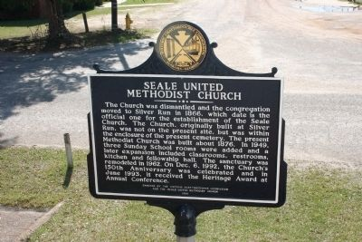 Seale United Methodist Church Marker: Reverse Side image. Click for full size.
