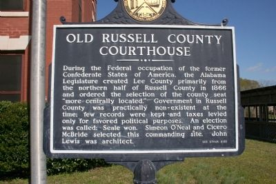 Old Russell County Courthouse Marker image. Click for full size.