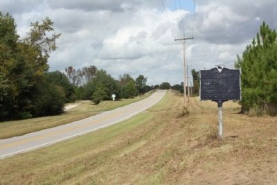 Revolutionary Skirmish  Marker looking west along Brewington Road near the I-95 overpass image. Click for full size.