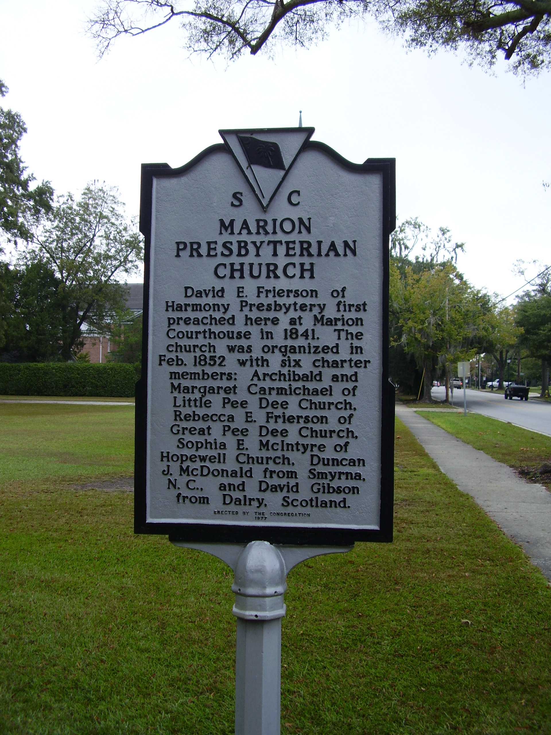 Marion Presbyterian Church Marker