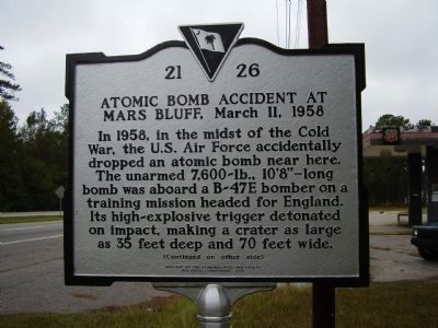 Atomic Bomb Accident at Mars Bluff, March 11, 1958 Marker image. Click for full size.