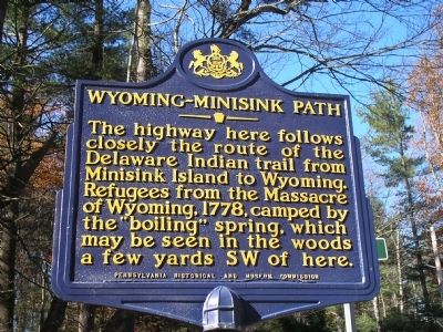 Wyoming-Minisink Path Marker image. Click for full size.