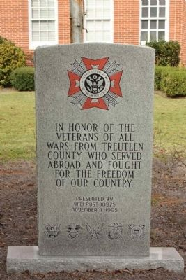 Treutlen County Veterans Memorial, at the Courthouse image. Click for full size.