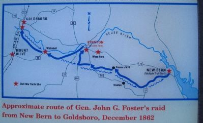 Approximate route of Gen. John G. Foster's raid from New Bern to Goldsboro, December 1862 image. Click for full size.