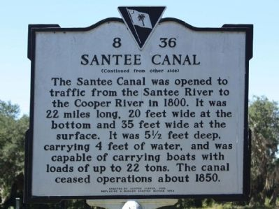 Santee Canal Marker, reverse side image. Click for full size.