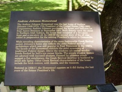Andrew Johnson Homestead Marker image. Click for full size.