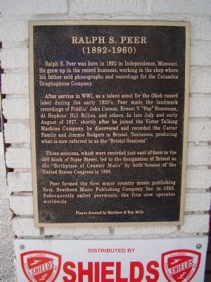 Ralph S. Peer Marker image. Click for full size.