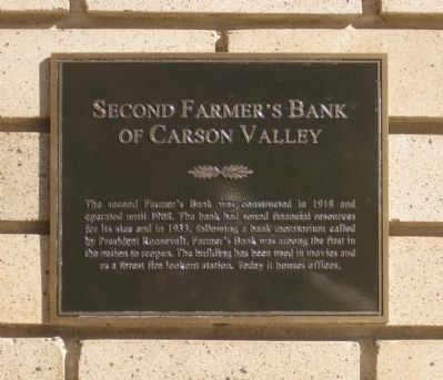 Second Farmer's Bank of Carson Valley Marker image. Click for full size.