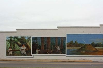 Siege of Fort Watson mural, 3 of 4 panels image. Click for full size.