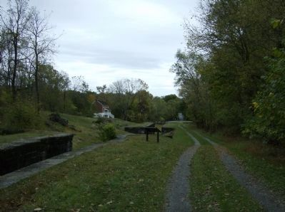 Looking back, east, from Lock #50 at Locks #49, 48, and 47 image. Click for full size.