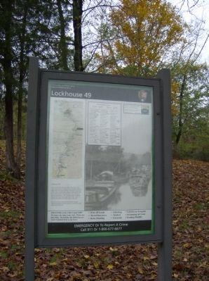 NPS information panel for Lockhouse 49 and the Four Locks site image. Click for full size.