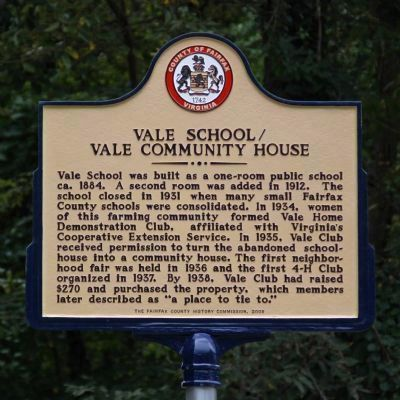 Vale School / Vale Community House Marker image. Click for full size.