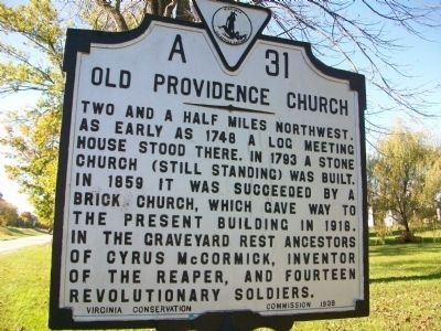 Old Providence Church Marker image. Click for full size.