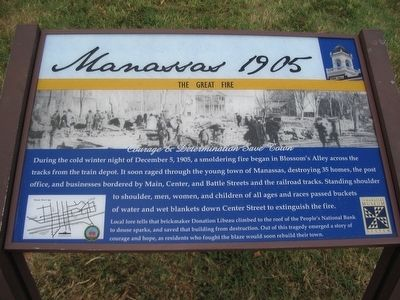 Manassas 1905 - The Great Fire Marker image. Click for full size.