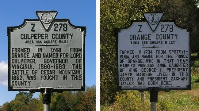Culpeper County / Orange County Marker image. Click for full size.