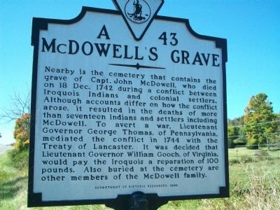 McDowell's Grave Marker image. Click for full size.