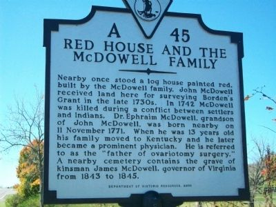 Red House and the McDowell Family Marker image. Click for full size.