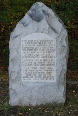Birthplace of Andrew Jackson Monument Marker image. Click for full size.