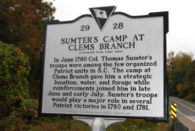 Sumter's Camp at Clems Branch Marker image. Click for full size.
