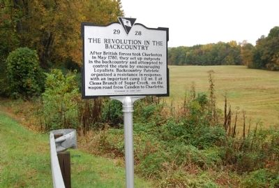 The Revolution in the Backcountry/ Sumter's Camp at Clems Branch Marker image. Click for full size.