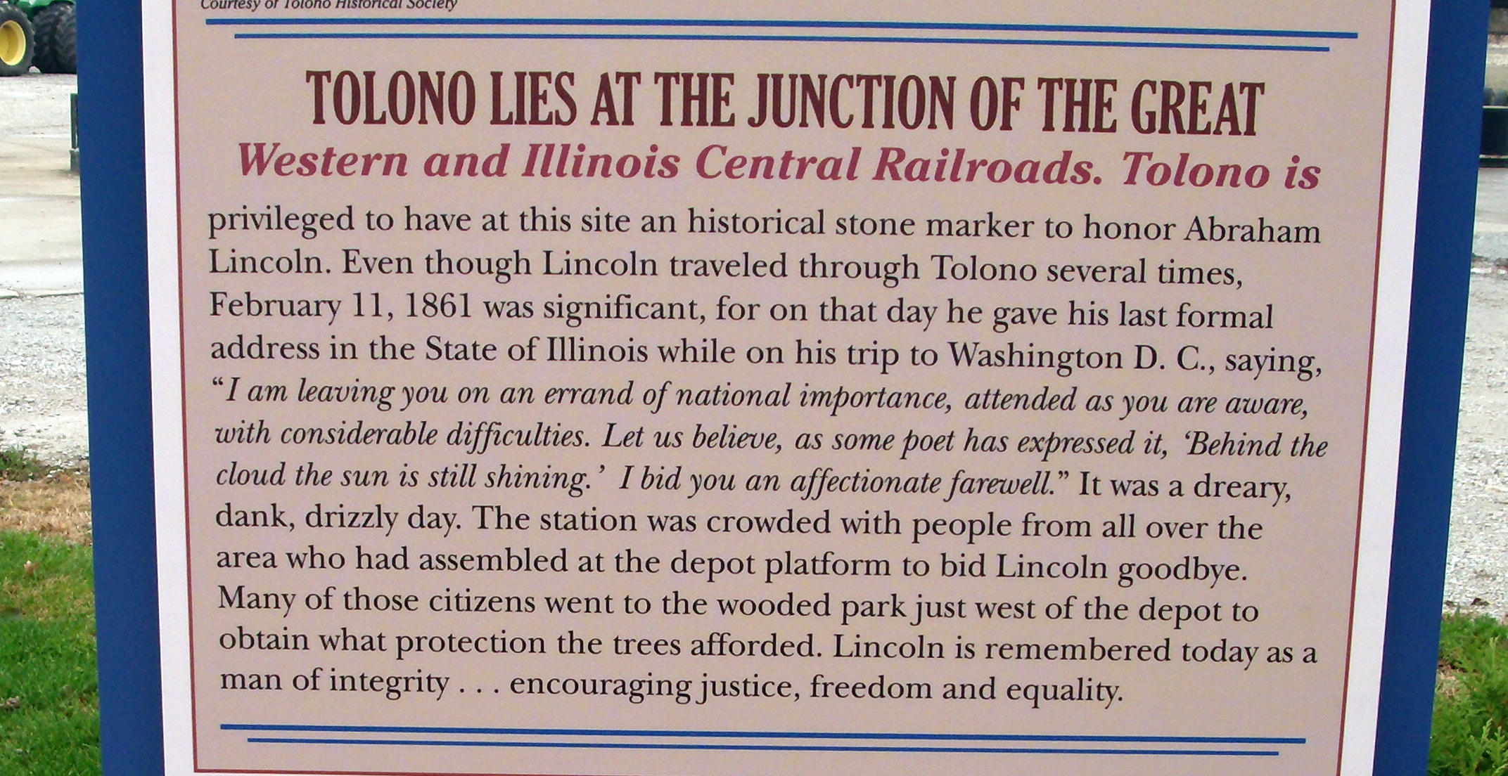 Middle Section - - Lincoln in Tolono Marker