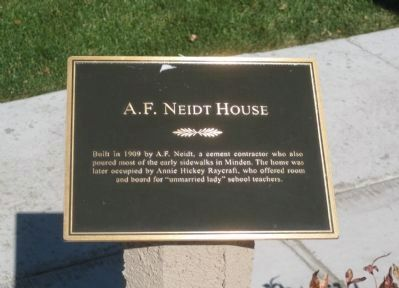 A. F. Neidt House Marker image. Click for full size.