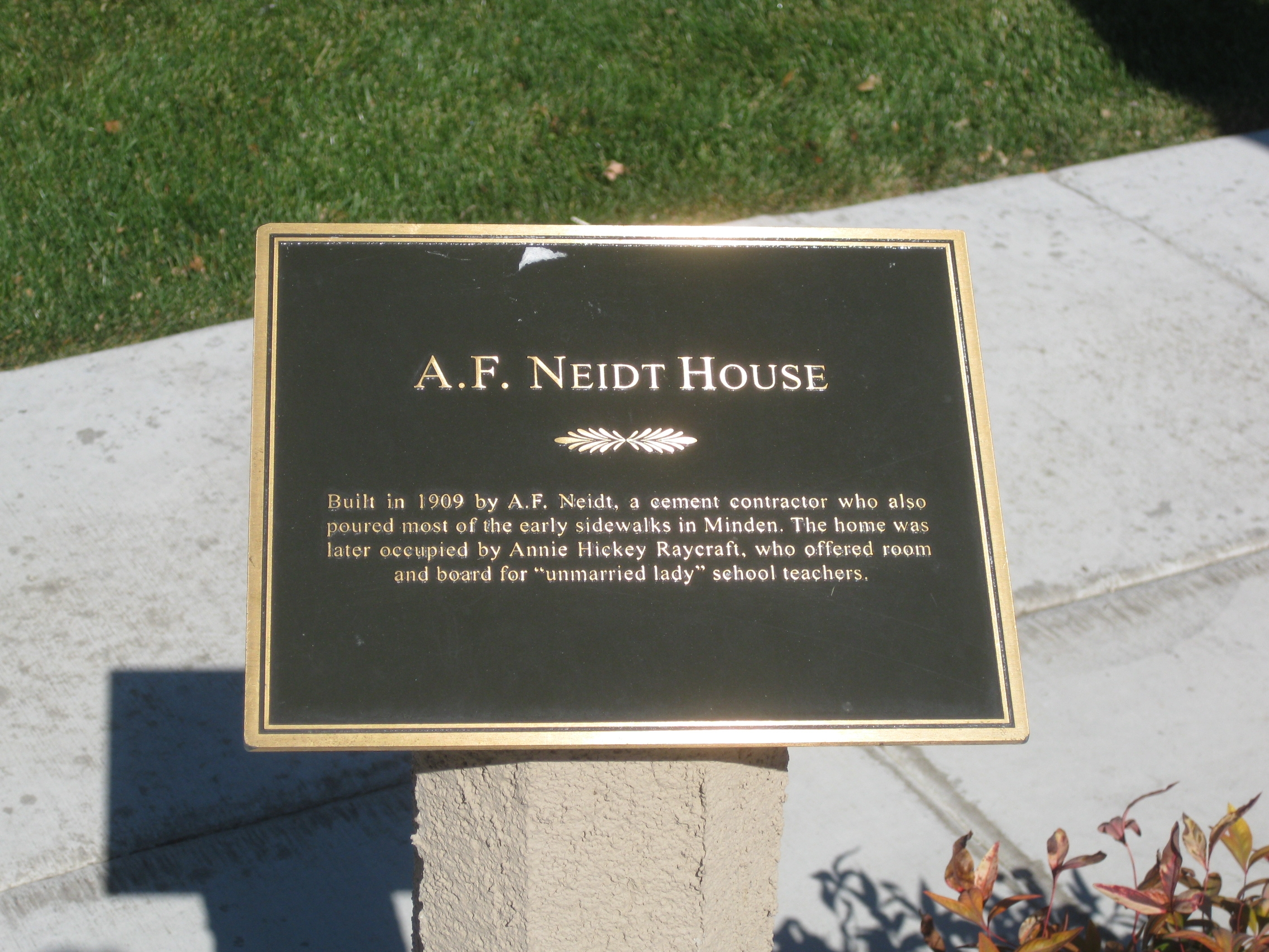 A. F. Neidt House Marker