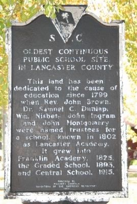Oldest Continuous Public School Site in Lancaster County Marker image. Click for full size.