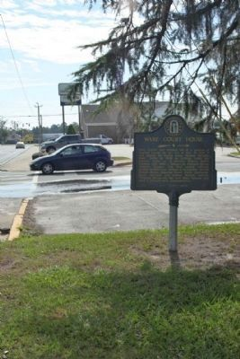 Ware Court House Marker, as seen driving south on State Street image. Click for full size.