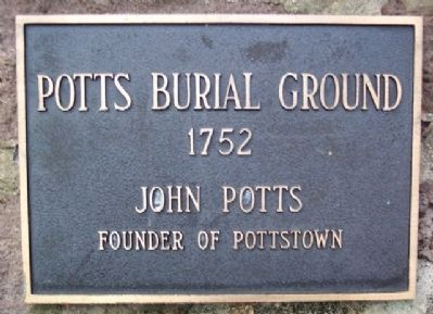 The Potts Burial Ground 1752 Marker on Wall image. Click for full size.