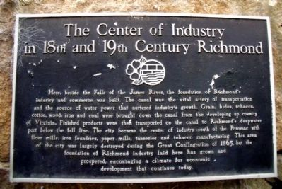 The Center of Industry in 18th and 19th Century Richmond Marker image. Click for full size.