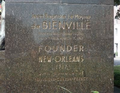 Bienville Monument, north face of statue's base image. Click for full size.