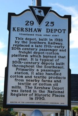 Welsh's Station / Kershaw Depot Marker image. Click for full size.