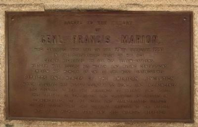 Francis Marion's Grave , north face image. Click for full size.