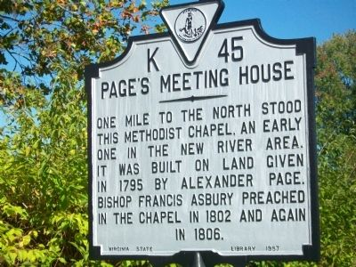 Page's Meeting House Marker image. Click for full size.