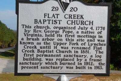 Flat Creek Baptist Church Marker image. Click for full size.