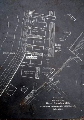 Site plan of the Haxall Crenshaw Mills image. Click for full size.