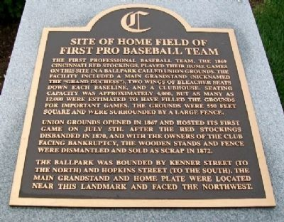 Site of Home Field of First Pro Baseball Team Marker image. Click for full size.