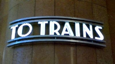 "Cincinnati Union Terminal ""To Trains"" Sign image. Click for full size."