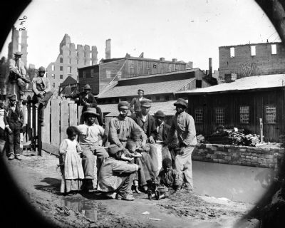 "Richmond, Virginia. Group of Negroes (""Freedmen"") by canal image. Click for full size."