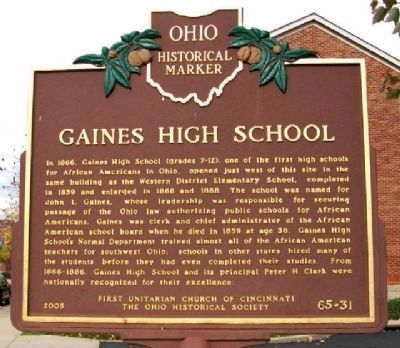 Gaines High School Marker (Side A) image. Click for full size.