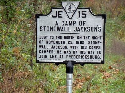 A Camp of Stonewall Jackson's Marker image. Click for full size.