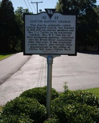 Clifton Baptist Church Marker image. Click for full size.