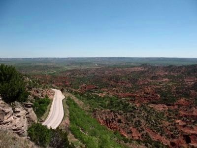 View of Palo Duro Canyon and Hamblen Drive snaking northwards from Roadside Park image. Click for full size.